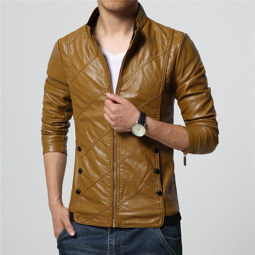 2018 Mens clothing faux leather jacket Slim fit Wine red Khaki black plus size M-6XL Motorcyle coats high quality drop shipping