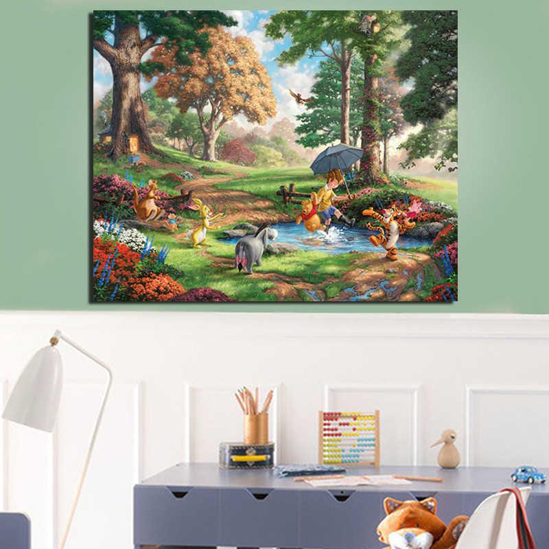 Thomas Kinkade puzles Winnie The Pooh lienzo pintura sala de estar decoración del hogar pared moderna arte pintura al óleo carteles imagen
