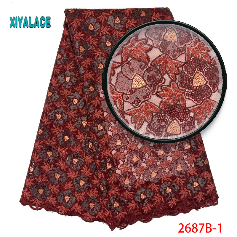 African Lace Fabric 2019 High Quality Nigerian Lace Fabrics Organza Sequins Embroidery French Tulle Lace Fabric YA2687B-1