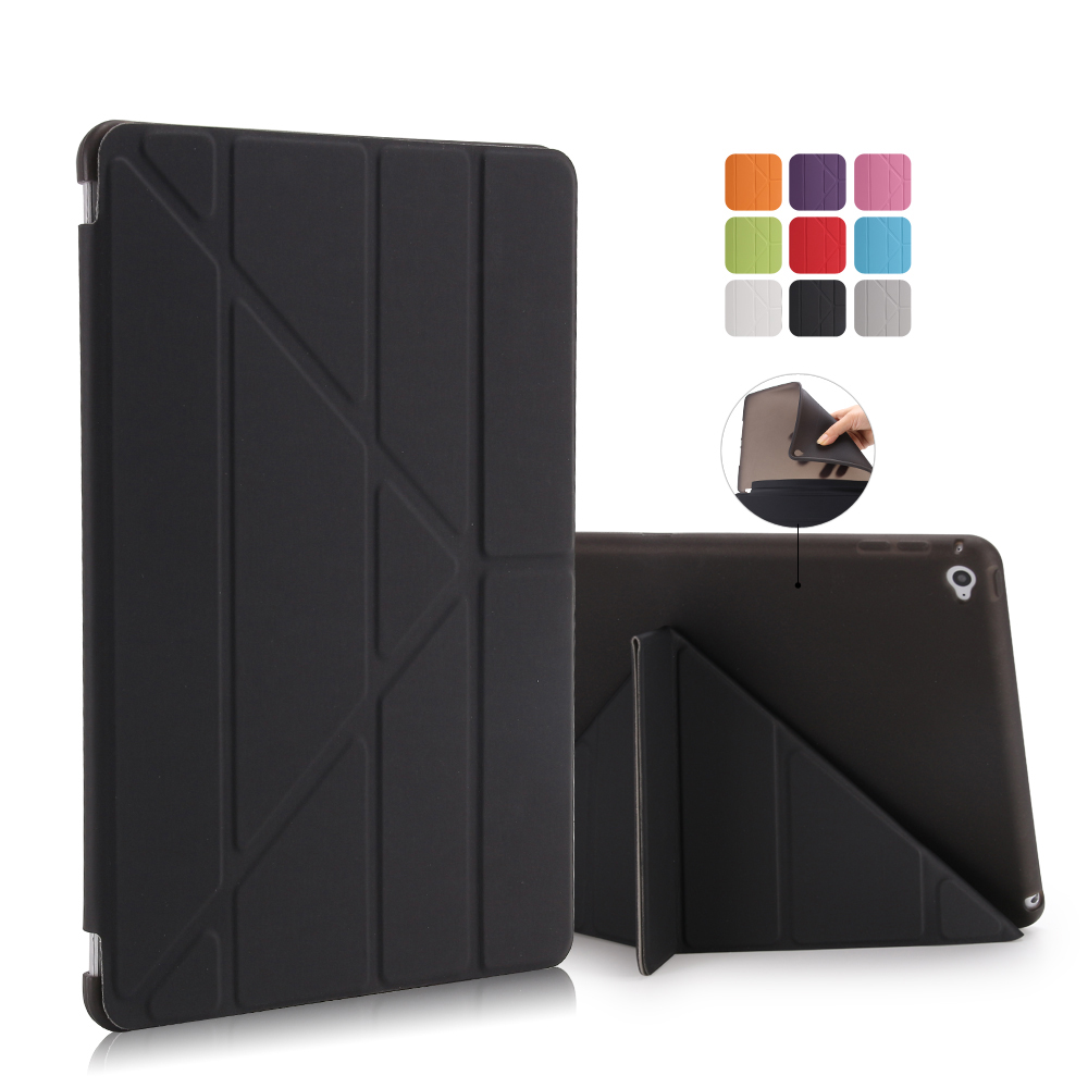 For New Ipad 9.7 2017 Case Smart Stand PU Leather Cover Multi Shapes Soft TPU Silicone Bottom For Apple New Ipad 9.7 + Stylus surehin nice tpu silicone soft edge cover for apple ipad air 2 case leather sleeve transparent kids thin smart cover case skin