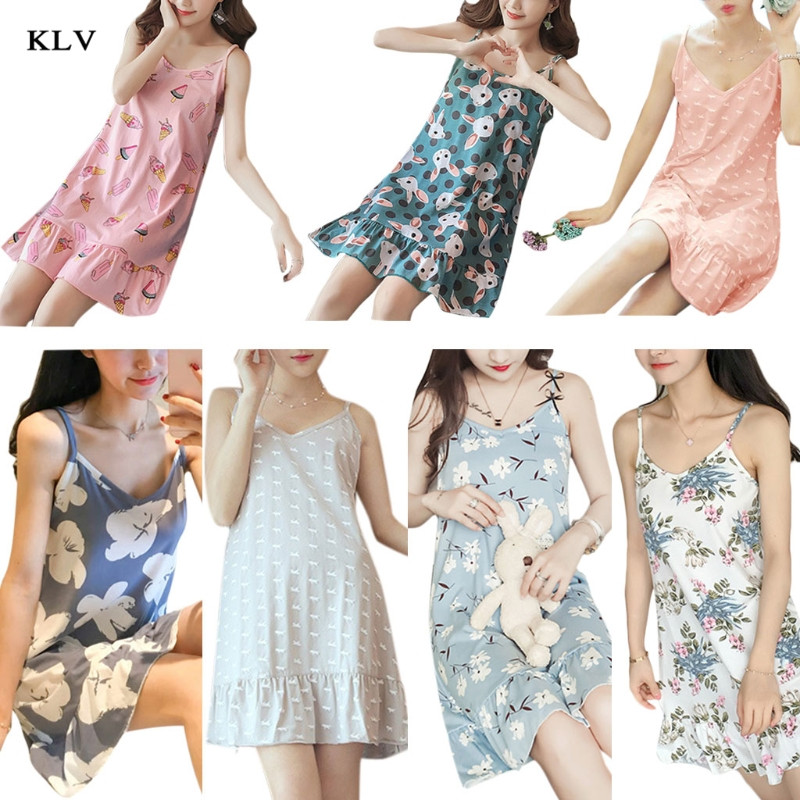 KLV 2019 New Women Summer Cotton Plus Size Camis Temperament Sexy Sleepwear Sleeveless Slingshot Print Sleepshirt Sleep Tee