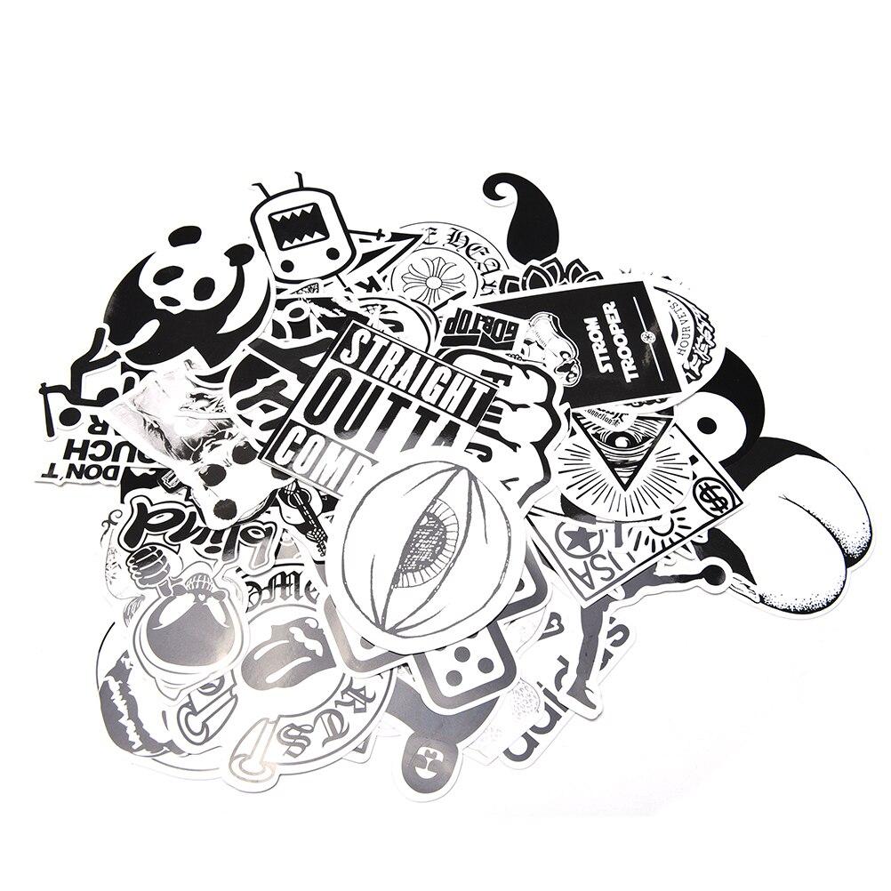 60pcs set sticker car decor accessory black white. Black Bedroom Furniture Sets. Home Design Ideas