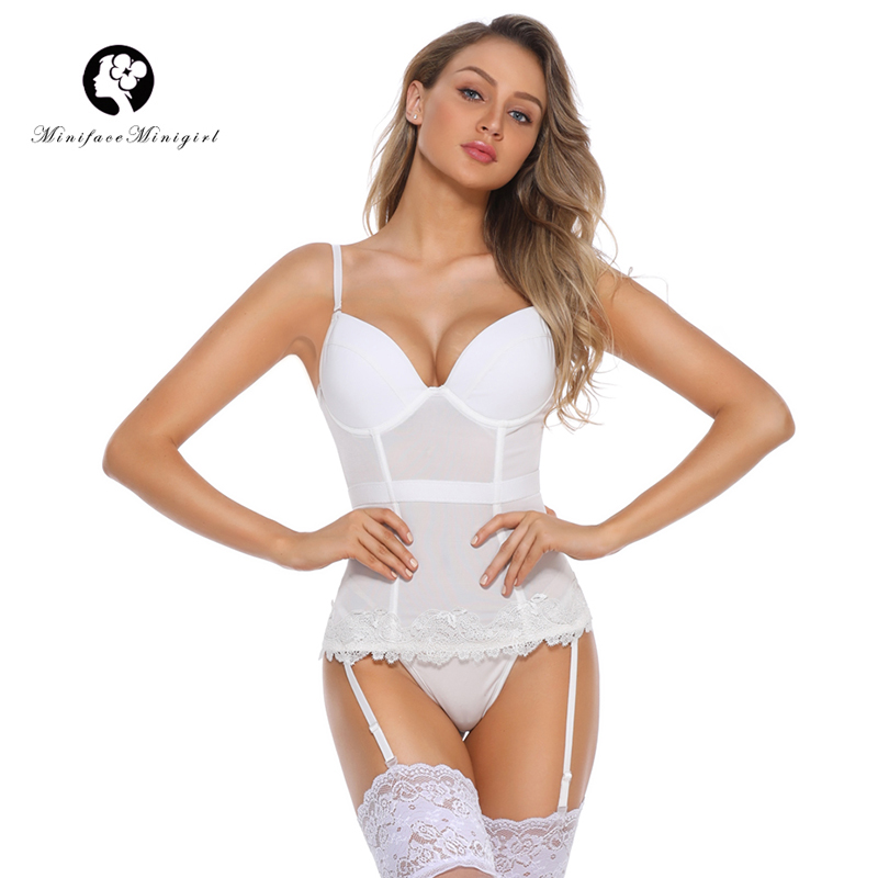Minifaceminigirl Sexy Embrodidery   Bustier   White Women   Corset   and   Bustier   Over Bust Top Lingerie Push Up   Bustier     Corset   Plus Size