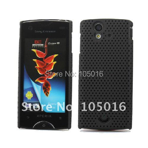 Free shipping 1pc black cool mesh hard Case Cover for SonyEricsson xperia Ray ST18i mobile phone