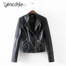 Women's Black Motorcycle Soft PU Leather Jacket 2016 Autumn Fashion Brand Design Classic Biker Jackets Women Outwear Coat