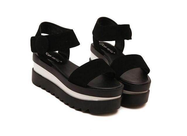 14716ce1a8d Black Fringe Sandals Hook Loop Platform Wedges Women Flat Sandals Platform  Wedges Shoes Chunky Platform Ankle Strap Sandal Wedge