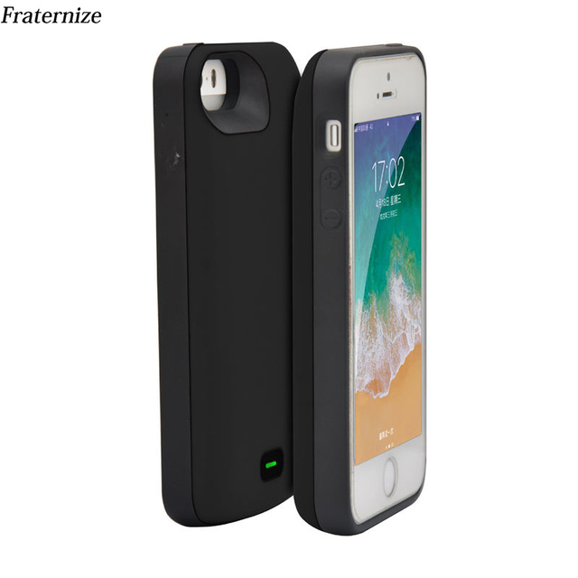 reputable site 49577 49fa1 US $19.99 30% OFF|4000mAh Silicone shockproof Battery Case For iPhone 5 5S  SE 2018 SE2 Charger Case Battery Charging Back Cover Power Bank Cases-in ...
