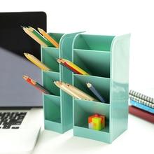 Пластиковый ящик для хранения стола, канцелярские принадлежности, органайзер, чехол, держатель, Декор, четыре слоя, бежевый, синий, зеленый, розовый