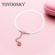4f51f70b7479 925 encanto del corazón rojo del amor en forma de pulsera estilo coreano  Simple carácter serpiente hueso pulsera joyería de moda
