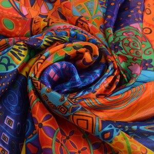 Image 4 - Turuncu mavi kış kadın saf ipek eşarp şal ilkbahar sonbahar moda büyük zarif klasik uzun eşarp sarar baskılı 180*110cm