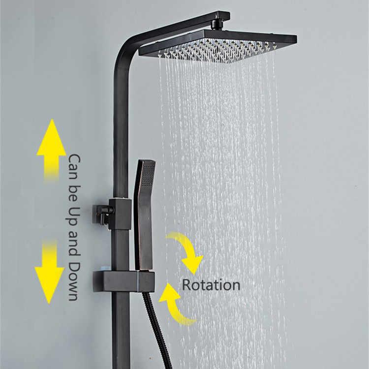 Senducs デジタルシャワーセット新真鍮の浴室のシャワー蛇口スパ降雨シャワーヘッド黒シャワーシステムサーモスタットシャワー