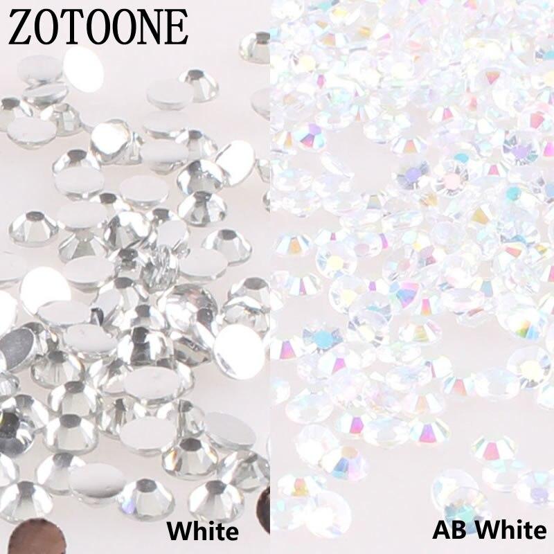 Стразы ZOTOONE Mix Size, 1000 шт./лот, 3-5 мм, белые кристаллы и камни AB, не требующие горячей фиксации, железные Стразы для одежды