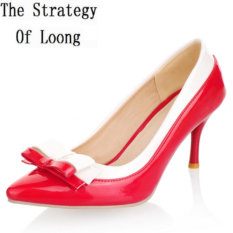 Pointed Toe Match Colors Bowknot Thin High Heels Women Shoes Patent Leather Woman Pumps 2017 New