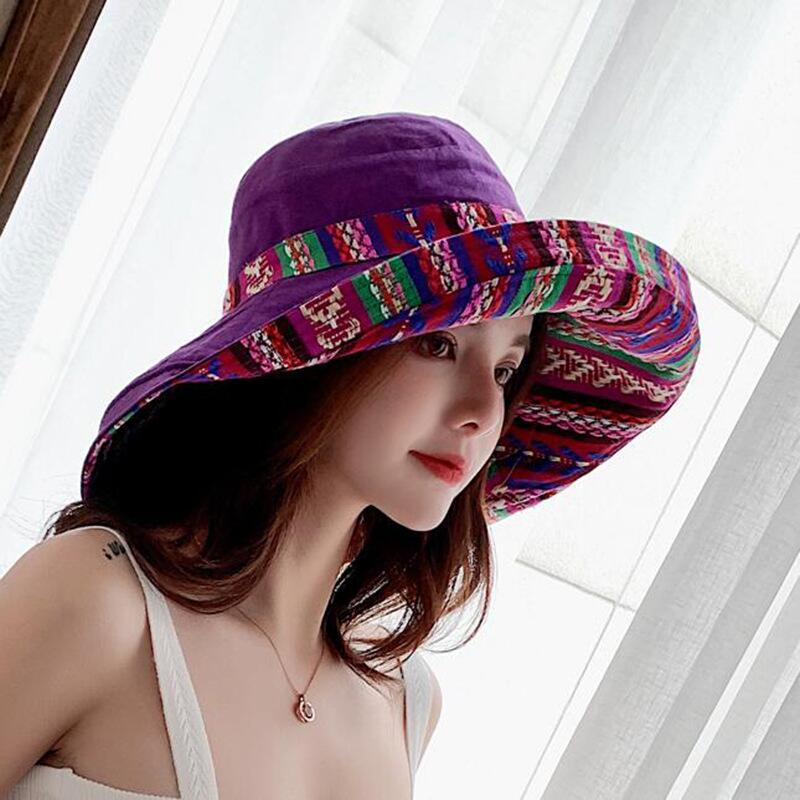 HTB1TV9qbEvrK1RjSspcq6zzSXXaf - Double sided irregular Pattern Bucket Hat Women Summer Cotton Breathable Leisure Bob Caps Outdoor Sports Casual Dome Panama Cap