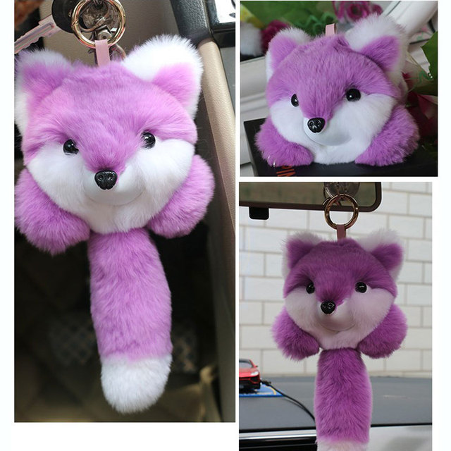 Physical Picture of the Rex Rabbit Fur Pom Pom Keychain Cute Animal Fluffy Key Chain Bag Pendant Car Ornaments Small Gifts 2KC35