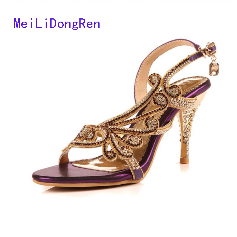 Luxury Sexy High-heeled Shoes Big Size 40 41 42 Open Toe Buckle Strap Rhinestone Sandals Heels Princess Shoes Bridesmaid Shoes free shipping 7cm sandals big size sexy high heeled sandals high heeled shoes model shoes 5 14 5