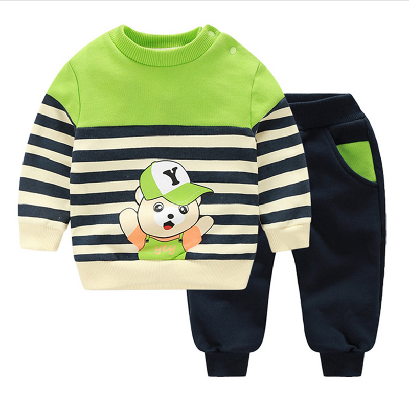 Baby Clothes Suits Autumn Winter Long Sleeve Cartoon Printed Warm Cotton 2Pcs Coat+Pant For Boy Girl Baby Clothing Sets