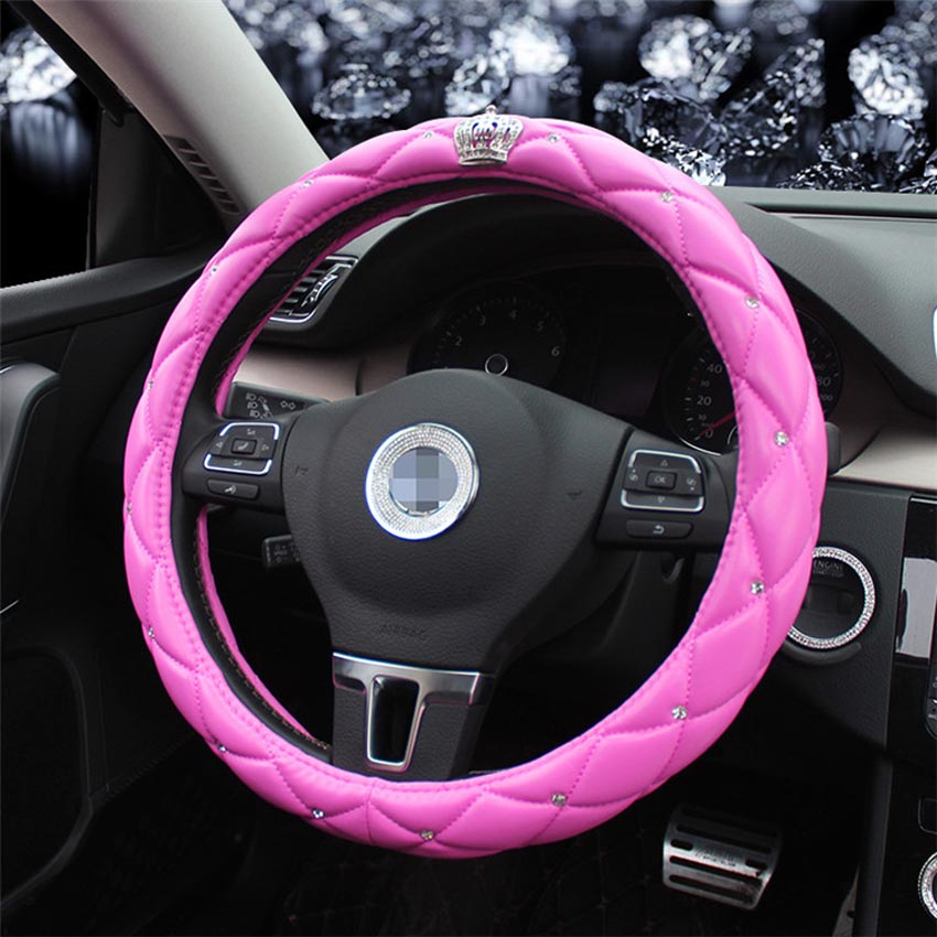 Queens Luxury Universal Inlaid Rhinestones Leather Car Steering Wheel Cover Styling 38CM In Covers From Automobiles Motorcycles On