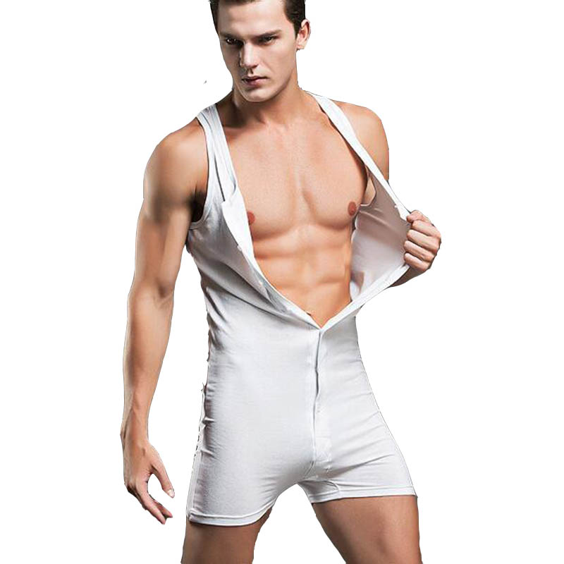KWAN.Z Male Jumpsuit Cotton Mens Sleeveless Onesie Comfortable Body Suits Sexy Joint Clothing Sleepwear Bodysuit Mens Sexy Ones