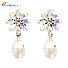 AOTEMAN Hot Sale Flower Crystal Earrings 8 Colors Water Drop Earrings For Women Luxury Statement Jewelry Factory Wholesale