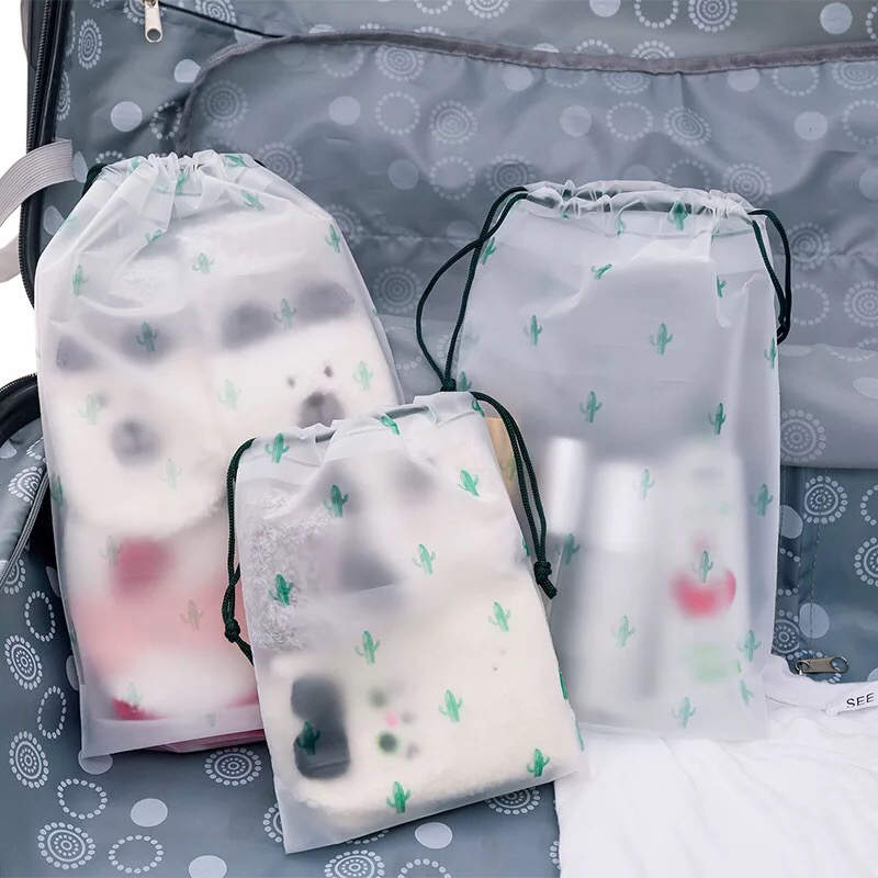 Wash Pouch Cartoon Travel Luggage Bags Transparent Waterproof Drawstring Bag Clothes Storage Shoe Organizer Cosmetic Pocket