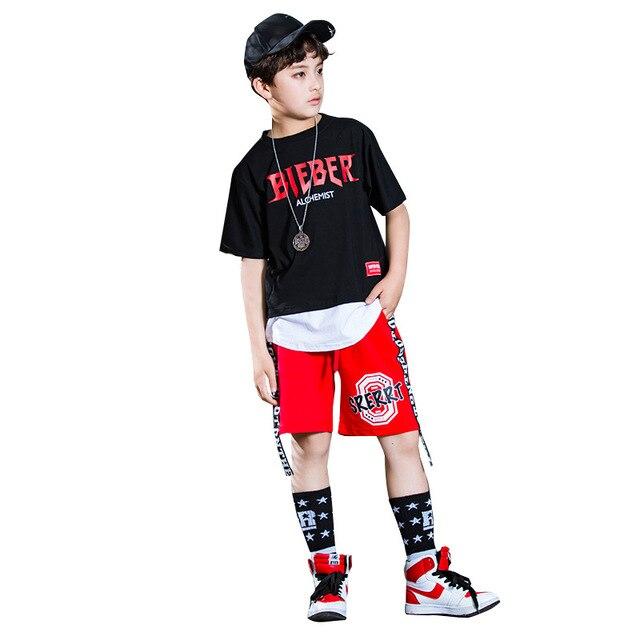 f0c68a981544 Summer Boy Sport Print word Clothing Set Short Sleeve+Pants Teen ...