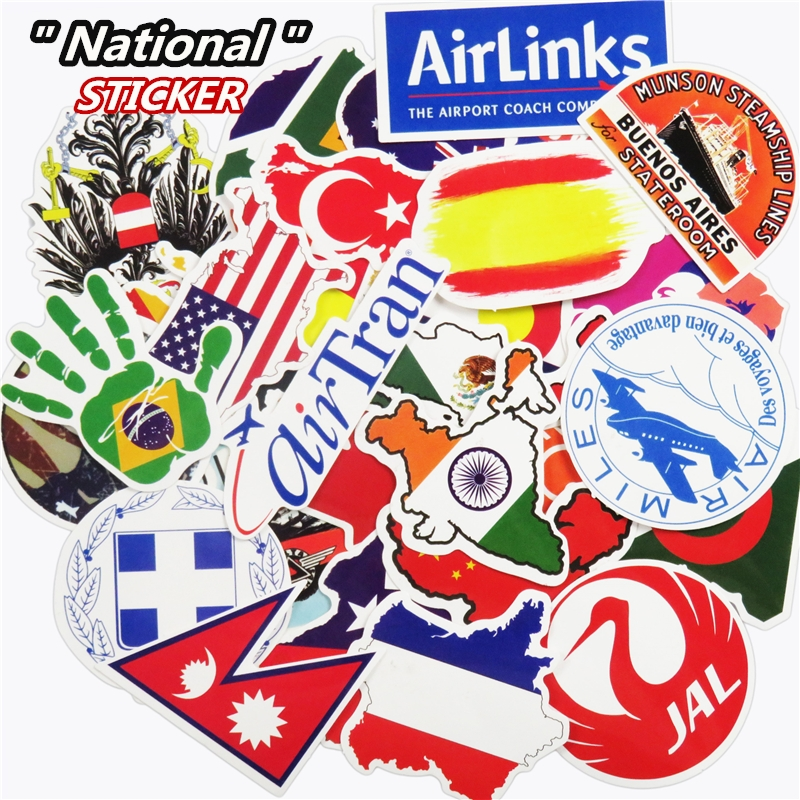 Mixed 50 Pcs National Flags Random Stickers for Laptop Luggage Travel Toys JDM Bike Waterproof DIY Sticker Funny Creative Decal