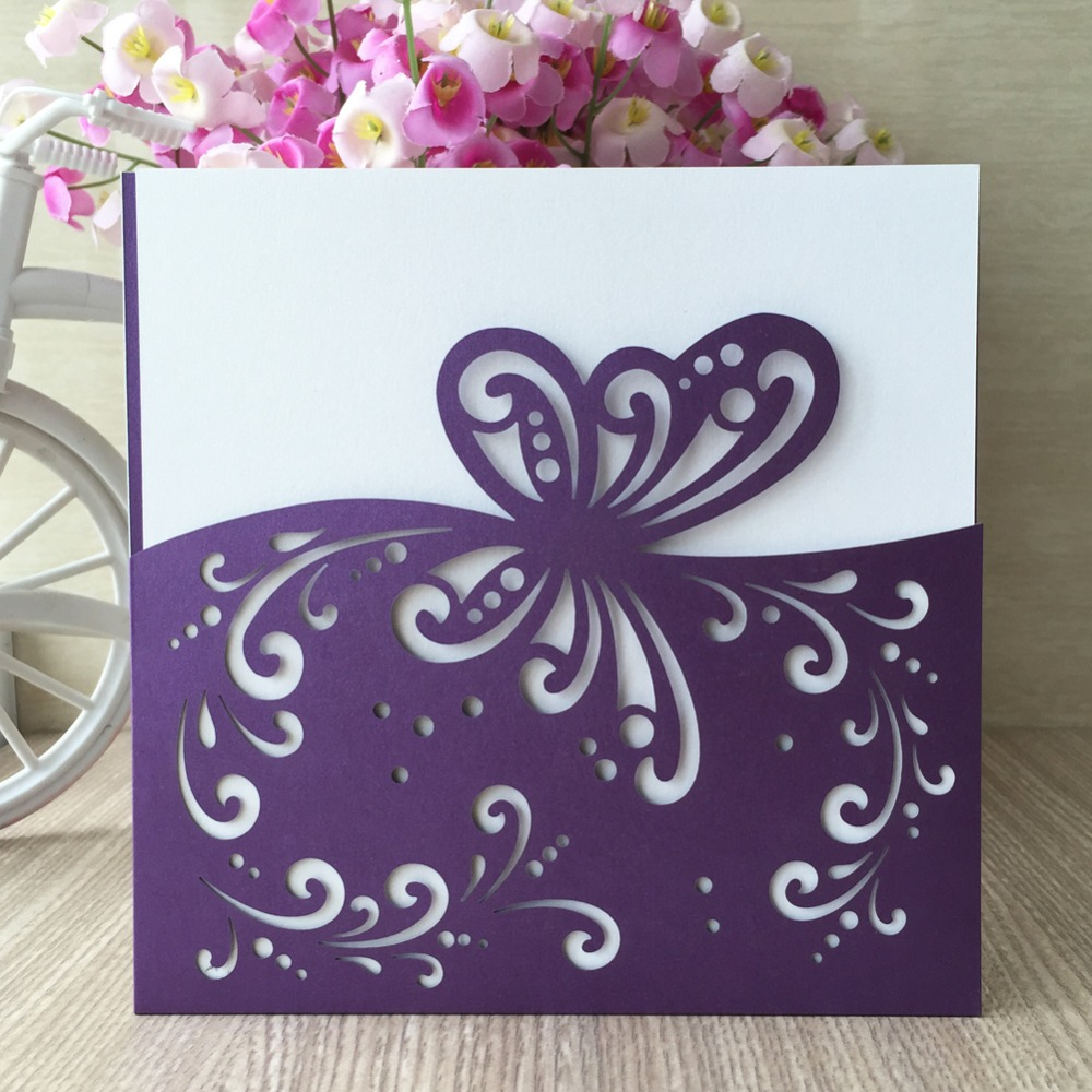 30Pcs Laser Cut Pearl Paper Pretty Wedding Invitation