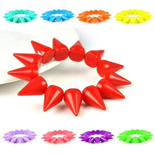 9 colors, Jelly color charms spike bracelets stretchable personalized steam punk bangles for girls, BR-1373