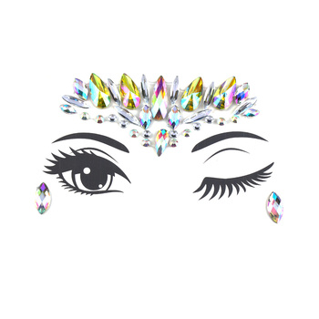 1PC Christmas DIY Eyebrow Face Body Art Adhesive Crystal Glitter Jewels Festival Party Eye Tattoo Stickers Makeup Xmas Decor