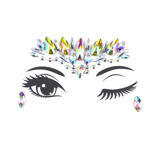 468b090ea6 US $0.71 10% OFF|1PC Christmas DIY Eyebrow Face Body Art Adhesive Crystal  Glitter Jewels Festival Party Eye Tattoo Stickers Makeup Xmas Decor-in Body  ...