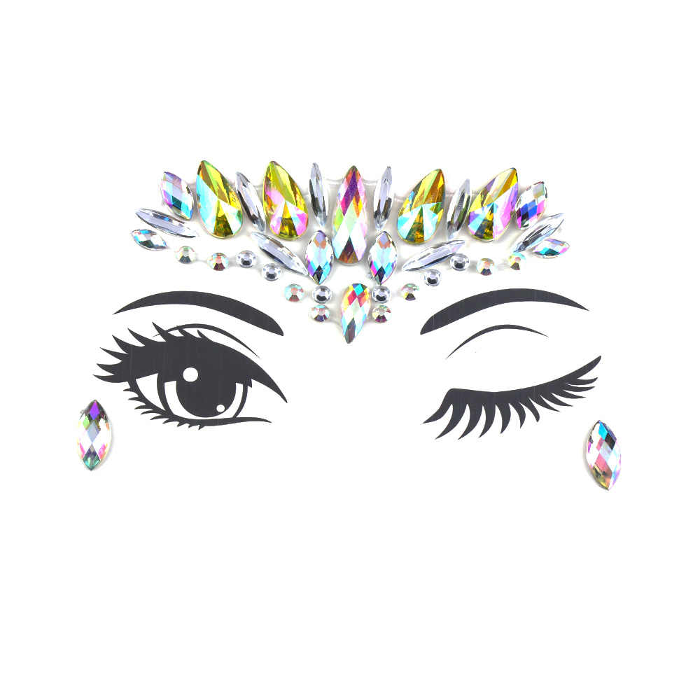 1pc Christmas Diy Eyebrow Face Body Art Adhesive Crystal Glitter Jewels Festival Party Eye Tattoo Stickers Makeup Xmas Decor Face Glitter Face Glitter Makeupeye Glitter Aliexpress