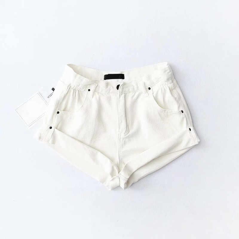 Lato koreański elastyczna wysokiej talii spodenki jeansowe szorty szorty czarny biały sexy szorty dżinsowe kobiety lato krótkie mujer feminino hot spodnie