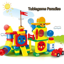 Wange pipeline game Bricks DIY Technology Tubegame Paradise creative assembly model building block toy For childrens gift