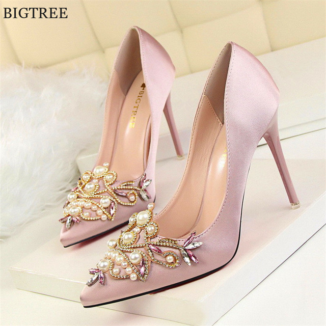0536c945f20 Star Style Women Fashion Pearl Crystal High Heels Shoes 2019 New Women s  Sexy Pointed Toe Shallow Solid Silk Elegant Party Shoes