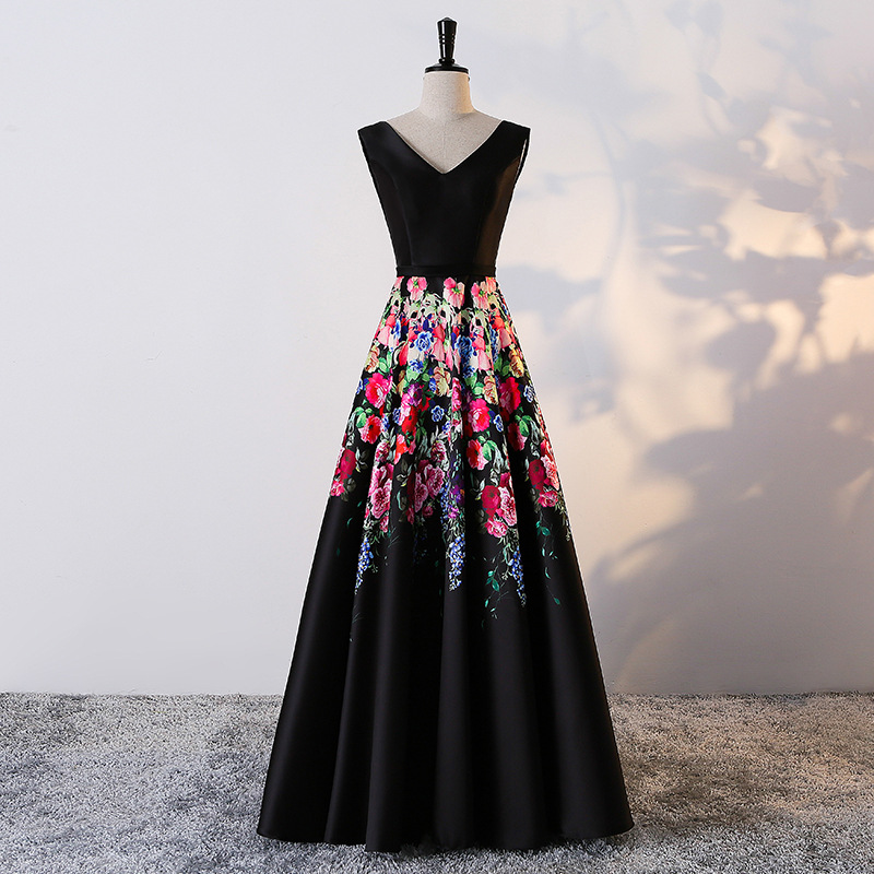 Black Satin Floral Print Evening Dresses Long 2018 New Elegant Strapless Custom Plus Sizes Evening Gown