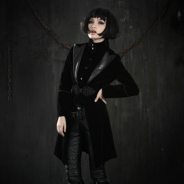 PUNK RAVE Gothic style Uelueteen Chinoiserie Windbreaker Turn-down Collar  Jacket Y-377