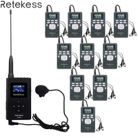 0.6W 1 FM Transmitter TR504 + 10 FM Radio Receiver PR13 Wireless Tour Guide System for Guiding Church Meeting Translation System