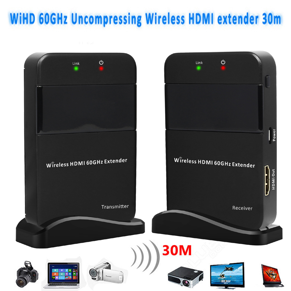 Mini Size HDV-W551 1080P 3D 60GHz Wireless HDMI Extender 30M 98ft TV Audio Video Sender TX + RX WIHD HDCP 2.0 LPCM HD 7.1CH bork w551