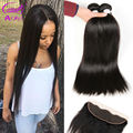 Indian Virgin Hair With Lace Frontal Closure Ear To Ear 3 Bundles With Frontal Closure Straight Indian Hair With Closure