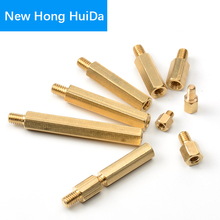 M2 Hex Brass Male Female Standoff Board Stud Metric Hexagon Threaded Pillar PCB Motherboard Spacer Bolt Screw M2*L+3mm