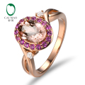 14K Rose Gold 1.79CT Oval Cut Morganite 0.40ct Diamond & Sapphires Engagement Ring Free shipping