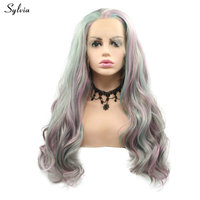 Sylvia Colorful Wig for Women Purple/Green/Rose Pink Highlight Synthetic Lace Front Wigs for Drag Queen Free Wig Blend Party Wig