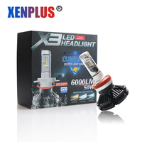 2pcs Led H8 H9 H11 LED Car Headlights Automobiles Bulbs ZES Chip 50W 6000LM 12 Months Warranty X3 6500k fog lamps car styling