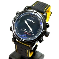 Alexis Brand Water Resist 30M Fashion Silicone Black Yellow Band Gent Dual Time Anadigit Watches for men led watch montre femme