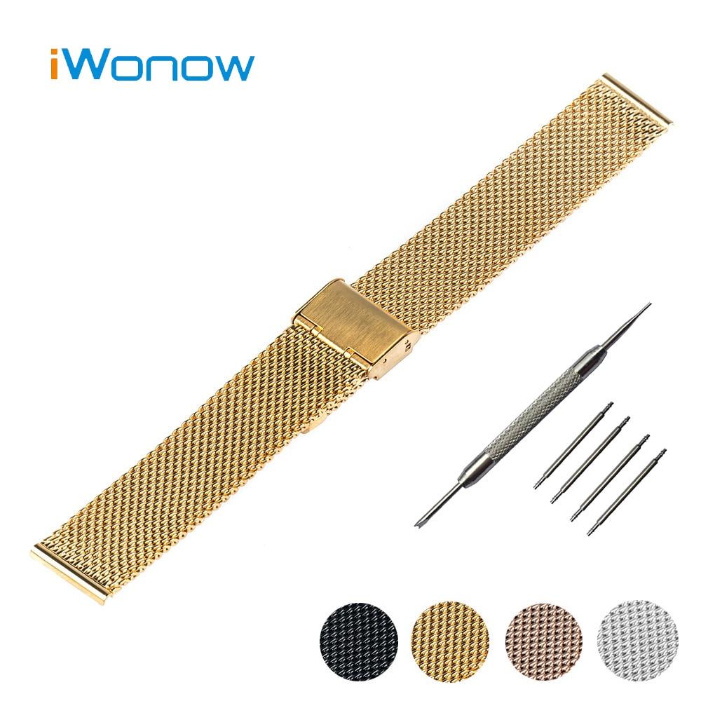 Milanese Stainless Steel Watch Band 18mm 20mm for DW Daniel Wellington Hook Buckle Strap Wrist Belt Bracelet + Tool + Spring Bar