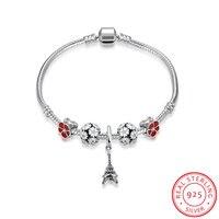 Ann Snow 925 Sterling Silver Red Flowers Charm Bracelets For Women European DIY Eiffel Tower Bracelets