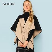 SHEIN Легкое Пальто С Поясом И Контрастной Отделкой, Контрастное Пальто На Запах