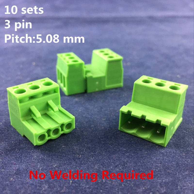 High Quality 10 sets/pack 5.08mm pitch 3 pin No Welding Required Docking Terminal 300V 10A PCB Pluggable Terminal Blocks