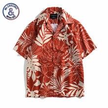 Hawaiian Beach Shirts Summer Mens Shirt Short Sleeve Leaf printed camisa masculina Loose Vacation chemise homme hollowed leaf printed hawaiian shirt